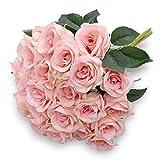 Denvii Artificial Pink Rose Flowers Bouquet of 12 Silk Pink Rose Faux Roses for Wedding Party Home Rose Centerpiece Arrangement Bush Shrub Decoration