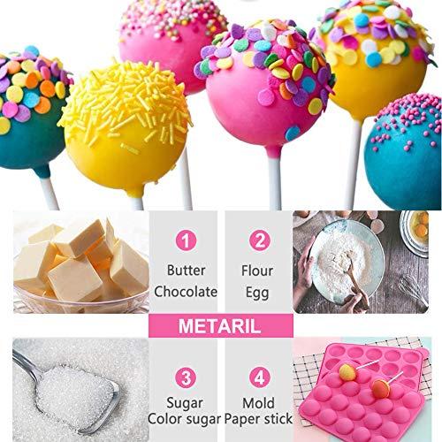 Molde Cake Pops Molde Lollipop Silicona,20 Silicona Bandeja Pop Cake Stick Mould Lollipop+Molde de Silicona para paleta de 6 Cavidades para Cake Pop,Piruletas,Caramelos,Chocolate