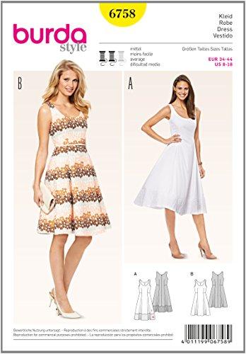 Burda 6758 Schnittmuster Kleid mit Saumblende (Damen, Gr. 34 - 44) Level 3 mittel