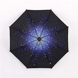 BEESCLOVER Hot Sales! Three Folding Umbrella Rain 3D Starry Sky Anti UV Windproof Sunscreen Black Coating Folding Sun Rain Umbrella Parasol Three Folding Umbrel One Size