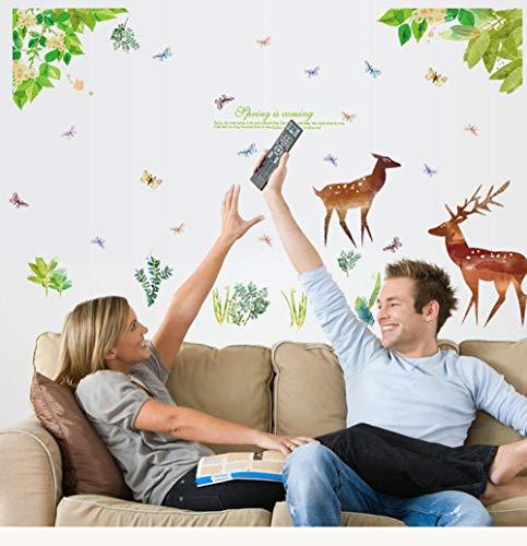 Frisse groene blad Fawn kast woonkamer TV achtergrond decoratie PVC muursticker