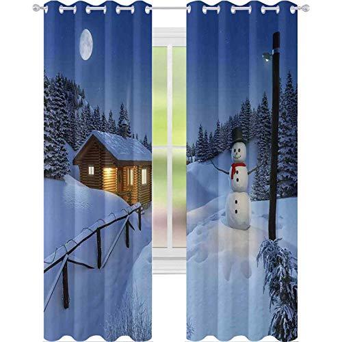 Cortinas térmicas con aislamiento, madera rústica, paisaje de cabaña en la temporada de invierno, cálido espíritu de luz de luna, 63 pulgadas de largo, cortinas para sala de estar, azul y blanco