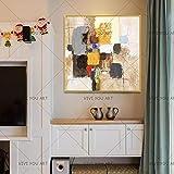 PVZADEW Handgemalt Acryl Gemälde Große Abstrakte Wand Malerei 100% Hand Bemalt Abstrakte Bunte Graffiti Ölgemälde Auf Leinwand Handmade Home Decor Wand Kunst 40X40Cm