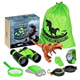 Ivy Step Dinosaur Explorer Kit for Boys and Girls with Dinosaur Binoculars, Flashlight, Watch, Magnify Glass, Carry Bag, Compass, Whistle and Tyrannosaurus Rex
