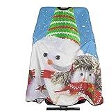 Delantal de corte de pelo Muñecos de nieve de invierno Salón de Navidad Capa de envoltura de peluquería Corte de cabello Capa Delantal de corte de pelo Peluquería Wai Cloth