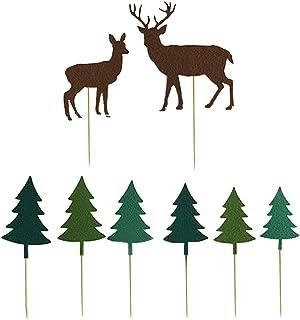 Coxeer 8PCS Christmas Cake Topper Creative Xmas Tree Deer Cupcake Topper Cake Decor for Children