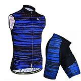 X-Labor Conjunto de maillot de ciclismo sin mangas para hombre, transpirable, tallas grandes, camisetas y pantalones cortos con acolchado 3D, ropa de ciclismo azul a rayas L