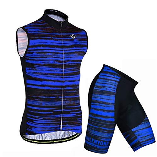 X-Labor - Maglia da ciclismo da uomo senza maniche, traspirante, taglie grandi e taglie forti, con imbottitura 3D, abbigliamento da ciclismo blu a strisce 5XL