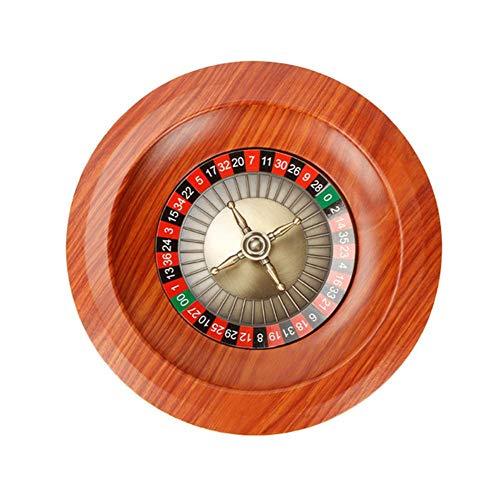 KEIBODETRD Roulette Rad Spiel Set, Holz Roulette Rad Set Plattenspieler Freizeit Tischspiele Flugzeuge Aluminium Schale Verchromter Messing Turm Game Night Essential