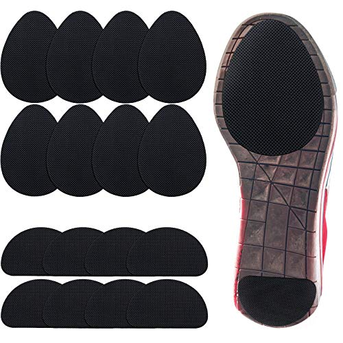 16 Pieces Non-Skid Shoe Pads Self-Adhesive Shoe Grips Anti Slip Shoe Pads Noise Reduction Shoes Cushion Anti-Shedding Rubber Sole Protector (Black)