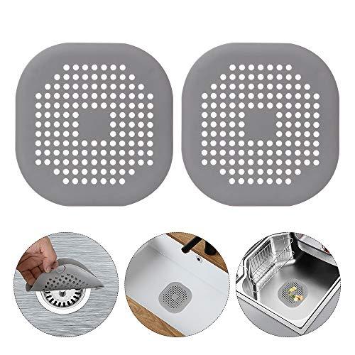 2 Stück Abflusssieb Silikon,Dusche Abfluss Sieb Duschablauf Abdeckungen Waschbecken Sieb Haarfänger Duschablauf-Abdeckungen aus Silikon für Bad Badewanne Küche(grau)