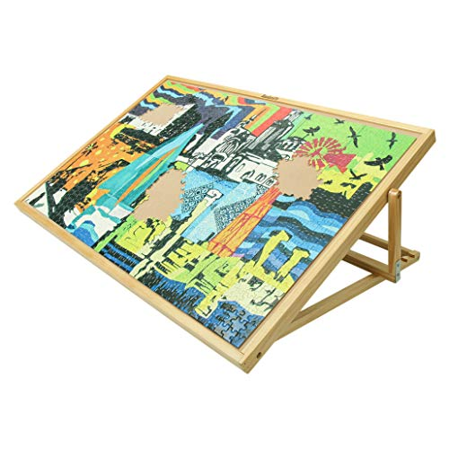 Becko Adjustable Wooden Puzzle Board Jigsaw Puzzle Plateau Puzzle Board with Easel for Adults and Kids for Puzzles Up to 1000 Pieces