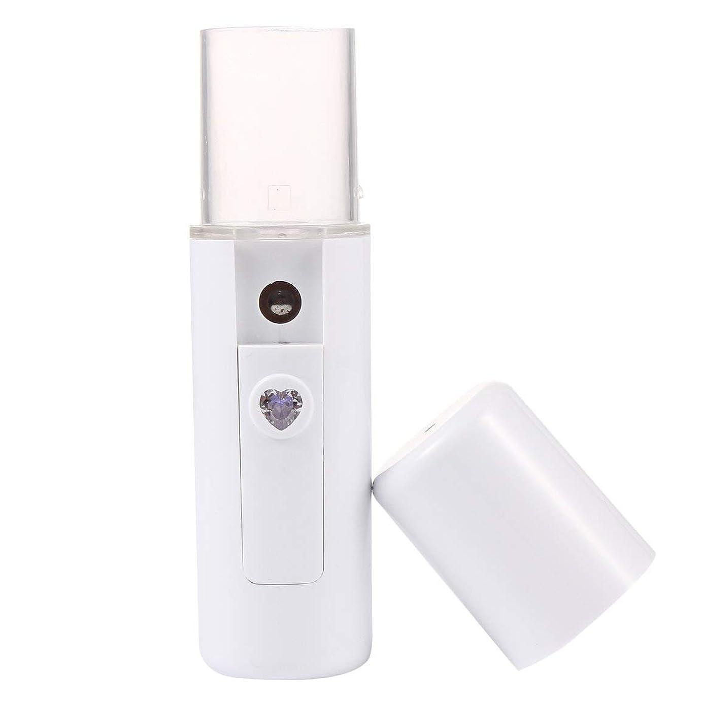 教授晩ごはん収まるL3 USB充電式ウォータースプレーポータブルフェイシャルモイスチャライジング美容機器フェイシャルスプレーマシン蒸し装置 - ホワイト