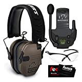 Walker's Razor Slim Electronic Shooting Muff (Flat Dark Earth) with Walkie Talkie, Shooting Glasses, and Focus Cleaning Cloth Bundle (4 Items)