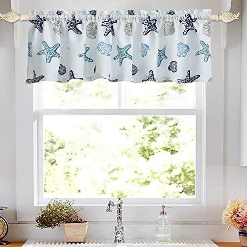 "oremila Kitchen Curtain Valance 54"" x 15"" Multicolor Starfish Seashell Conch Window Valance for Kitchen and Bathroom, Rod Pocket, Blue"