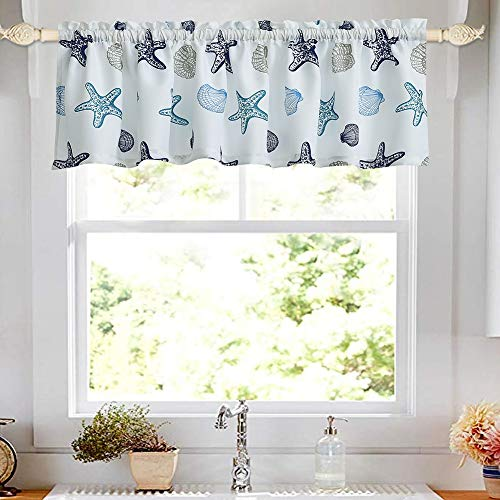 oremila Kitchen Curtain Valance 54' x 15' Multicolor Starfish Seashell Conch Window Valance for Kitchen and Bathroom, Rod Pocket, Blue