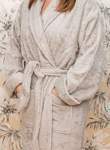 Bamboe Badmantel, Dressing Gown. Taupe, groot (borst/borst, maat arm put om armput, 64cm). 70% bamboe. Zacht, comfortabel.