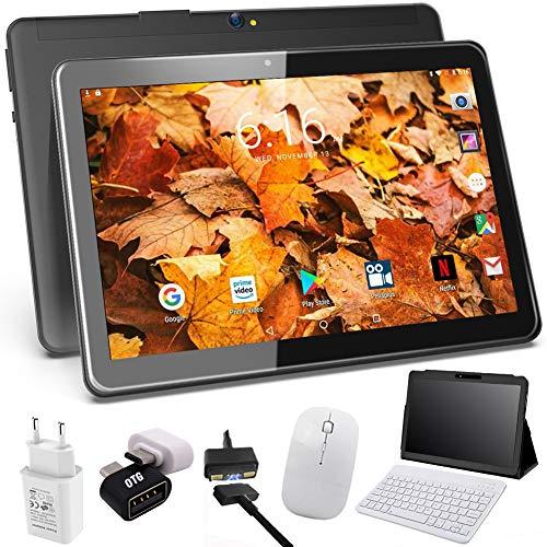 Tablet 10 Pulgadas 4G Android 9.0 4GB RAM 64GB de Memoria, Escalable 128GB - Certificado por Google GMS - Tableta Dual SIM Quad Core con Interfaz de Carga Magnética - Soporte Netflix, WiFi, GPS