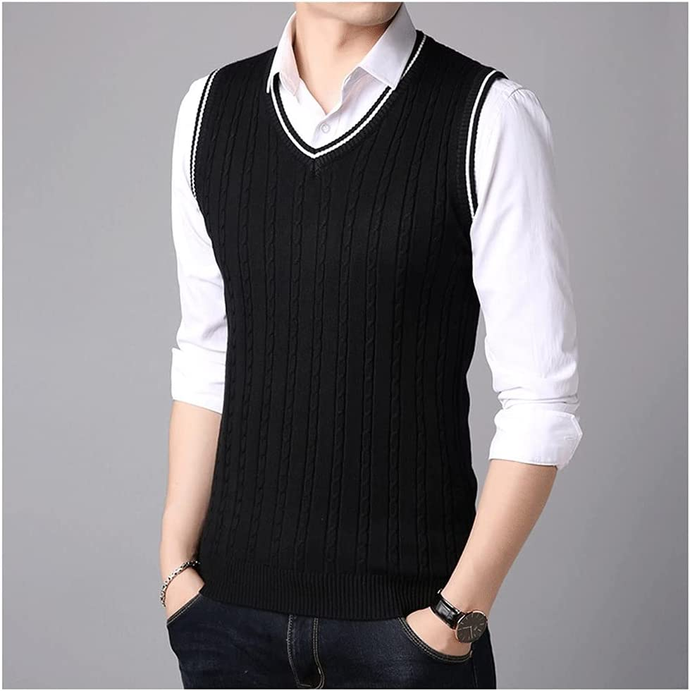 YCZDG Sleeveless Sweater Tank Tops Men Spring Autumn Knitted Jumpers Vest for Men Fashion Casual Wear Vest (Color : Black, Size : XXXL Code)