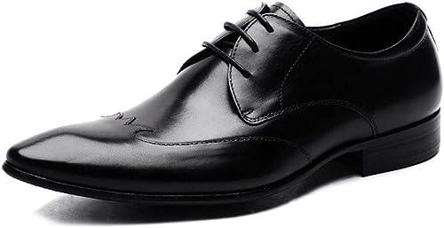 zapatos pequeños de Cuero de Inglaterra zapatos de Cuero Puntiagudos para hombres zapatos Casuales de Negocios marrón Traje de hombres zapatos para hombres