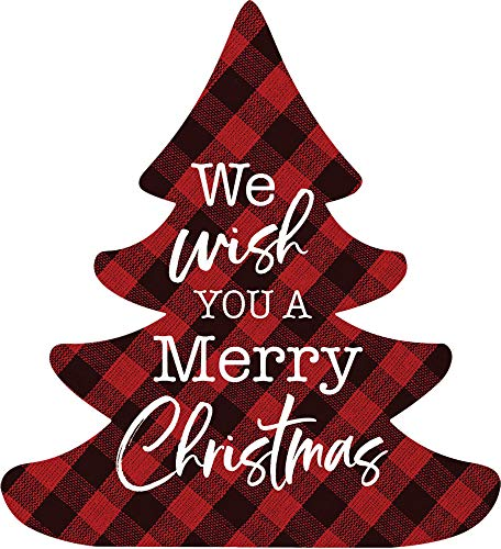 P. Graham Dunn We Wish You A Merry Christmas Red Plaid 3.5 x 3.194 Pine Wood Christmas Shape Sign