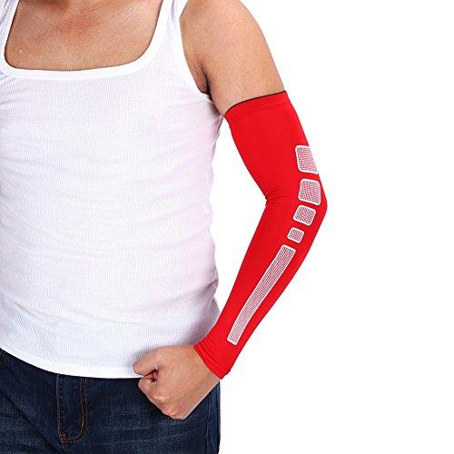 VGEBY 1 Paar Armbandage Kompressions-Ellenbogenbandagen Arm Sleeve Ellenbogen Schoner UV-Schutz Atmungsaktiv Herren Damen für Outdoor Basketball, Joggen, Fitness Sport (Farbe : Rot, Abmessung : XL)