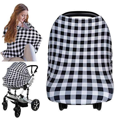 Carseat Canopy Cover - Baby Car Seat Canopy KeaBabies - All-in-1 Nursing Breastfeeding Covers Up - Baby Car Seat Canopies for Boys, Girls - Stroller Covers - Shopping Cart Cover (Gingham)