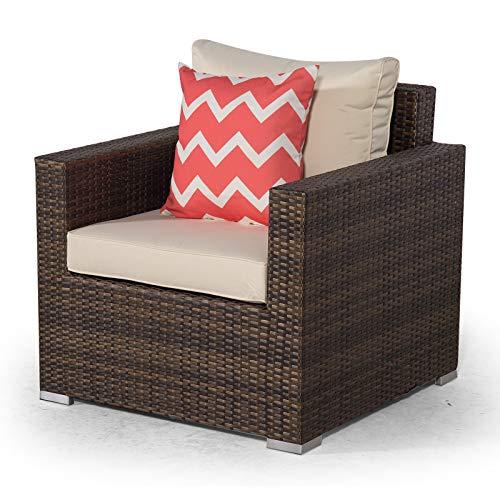 Giardino Sydney Brown Rattan Armchair | Rattan Garden Lounge Chair with Outdoor Furniture Cover