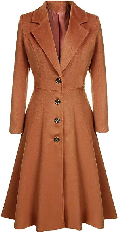 Zimase Women's Single Button Lapel Fashion Autumn Cotton Jacket Trenchcoat