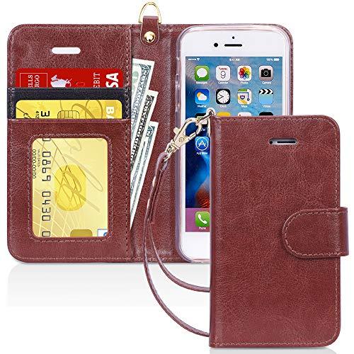 FYY Schutzhülle iPhone 5SE Schutzhülle, [Serien High-End] Ledertasche von Erste Qualität mit Coverture Allmächtige für iPhone 5SE D2-Brun SE/5S/5