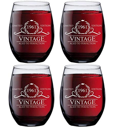 60th Birthday Gift Ideas for Women Men - 1961 Vintage 15 oz Stemless Wine Glasses (SET OF 4) - 1961 Birthday Gifts for Women Men - Gifts for 60 Year Old Woman Man - 60th Class Reunion Party Favors Cup
