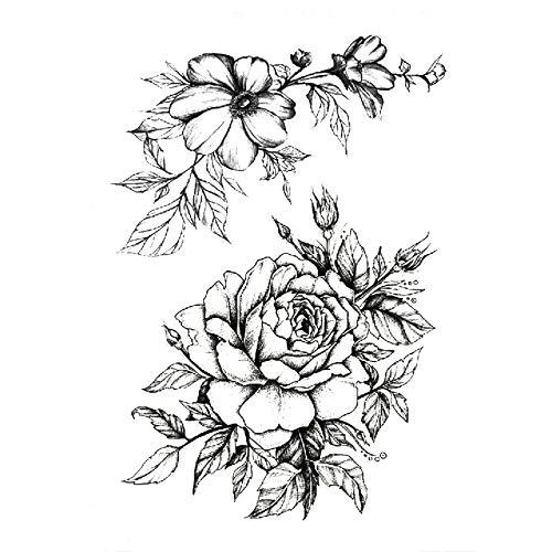 3 unids Moda Tatuaje Femenino Pegatina Rosa Negra diseño Flor Completa Brazo Cuerpo Arte Tatuaje Grande Pegatina 3pcs-3