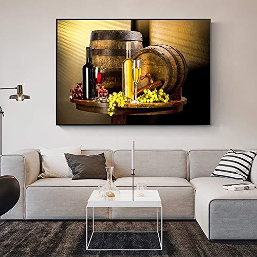 QWESFX Verschiedene Weine mit Traubenwandkunst Leinwanddrucke Traubenwein Leinwandbilder Gemälde an der Wand Dekorative Bilder für das Küchenzimmer (Druck ohne Rahmen) A4 50x100CM