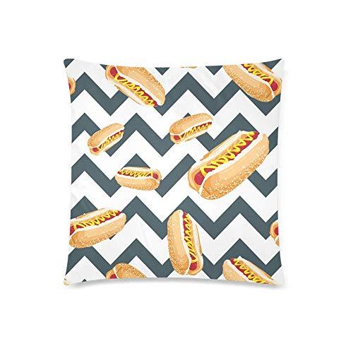 GOSMAO Divertido y Delicioso Hotdog en Chevron Pattern Funda de cojín con Funda de Almohada con 18 x 18 Pulgadas, Funda de Almohada con Cremallera para decoración de sofá de Dormitorio