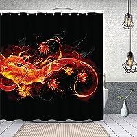 シャワーカーテン黒の背景に抽象的な火と花のグラフィック 防水 目隠し 速乾 高級 ポリエステル生地 遮像 浴室 バスカーテン お風呂カーテン 間仕切りリング付のシャワーカーテン 150 x 180cm