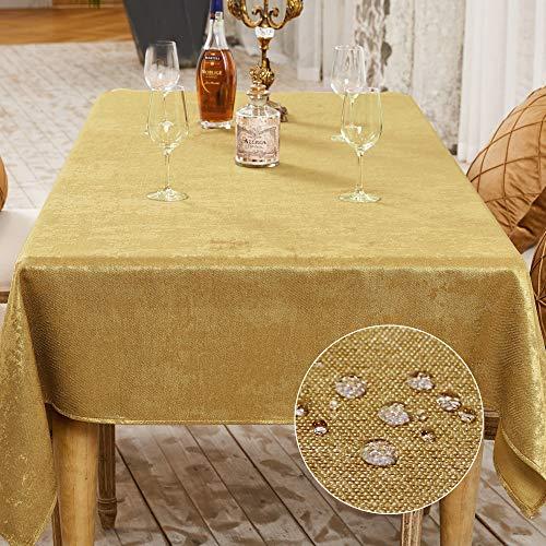 BALCONY & FALCON Tischdecke Abwaschbar Tischtuch Leinenoptik Tischdecken Glänzend Tischwäsche Wasserabweisend Tischtücher Lotuseffekt Eckig Tischdecke Gold 140 x180