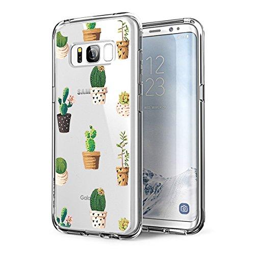 Alsoar Compatibile/Sostituzione per Galaxy S8 Case,Galaxy S8 Plus Cover Silicone Ultra Sottile Simpatico Disegno Animale Slim Trasparente Anti Scivolo Protezione TPU Cover (cactus1, Galaxy S8 Plus)