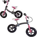 Fair Style Kinder Laufrad, Doppelfunktionsrahmen, mit Handbremse, ca. 30,3cm (12 Zoll), Silbergrau-pink, mitwachsendes Lernlaufrad, für Kinder ab 2 Jahren, Model 6936