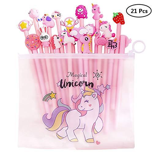 Yuccer Bolígrafos de Unicornio para Niñas Estuche Unicornio Niña Escolar Flamencos Bolígrafos para Suministros Escolares Regalo de Cumpleaños 21 Piezas (Negro)