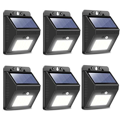 OHMU Solar Lights Outdoor, [64 LED/3 Working Modes] Solar Security Lights Motion Sensor Wireless IP 65 Waterproof Outdoor Lights for Garden Fence Patio Garage (6 Packs)