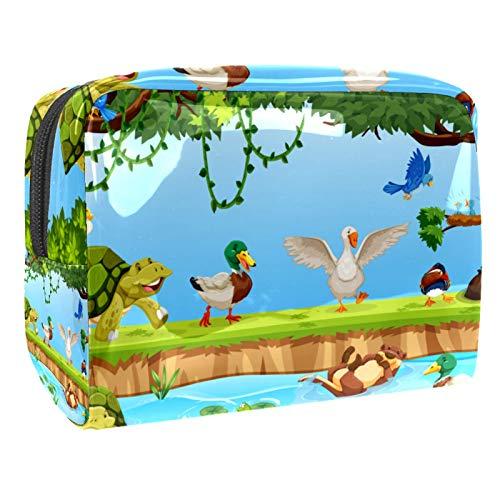 Reise-Make-up-Tasche Große Kosmetiktasche,Turtle Duck Bird Goose in einem Teich ,Make-up-Tasche Organizer für Frauen und Mädchen