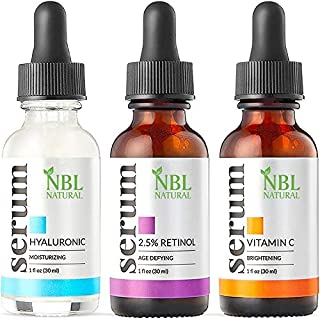 NBL Natural Anti Aging Set with Vitamin C Retinol and Hyaluronic Acid Serum for Anti Wrinkle and Dark Circle Remover All N...