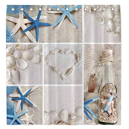 "Allenjoy 72x72""Summer Beach Shower Curtain for Bathroom Sets Nautical Marine Starfish Seashells Home Bath Bathtub Decor Decoration Customizable Durable Waterproof Fabric Machine Washable with 12 Hooks"