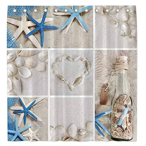"Allenjoy 72x72""Summer Beach Shower Curtain for Bathroom Sets Nautical Marine Starfish Seashells Home Bath Bathtub Decor Decoration Customizable Durable Waterproof Fabric Machine Washable with 12 Hooks"