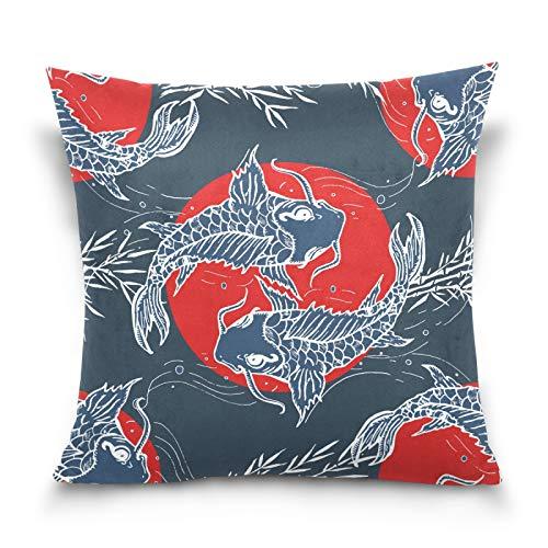 HMZXZ Funda de almohada decorativa de 40,6 x 40,6 cm, diseño de peces japoneses, color rojo, para sofá, dormitorio, sala de estar