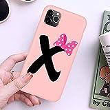 QWP Lettre Monogramme A B C D Rose Bow-Noeud Mou téléphone Cas for l'iPhone 11 Pro XR X XS Max 8 7...