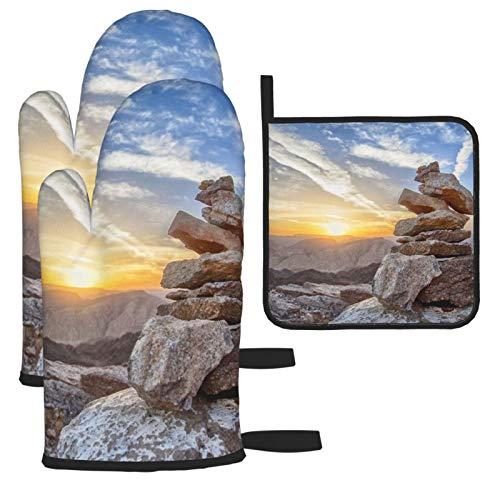 Vilico Sunset Mountain Equilibrio Top Manoplas de horno y soporte para ollas, guantes de cocina para microondas, esenciales para el hogar, resistentes al calor para hornear, 3 piezas
