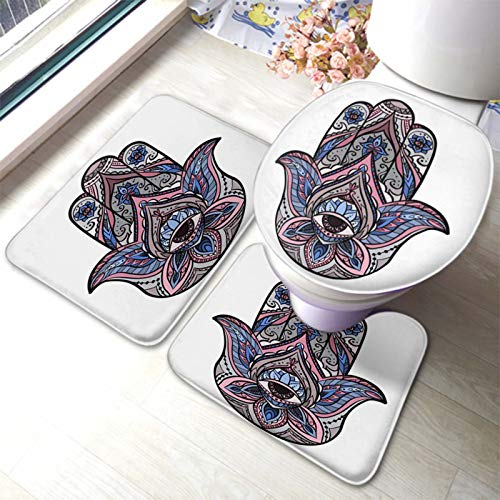 HOSNYE Buddhas Hand,Colored of Hamsa with Boho Pattern Bathroom Rug Set 3 Pieces Bath Mat U-Shaped Contour Rug Floor Mat and Toilet Lid Cover