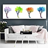 KWzEQ Acuarela Flores Coloridas Plantas árboles Abstractos minimalismo Arte de la Pared Cartel Abstracto,Pintura sin Marco,60x160cm