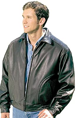 REED Men's All American Bomber Leather Jacket Union Small Black by REED